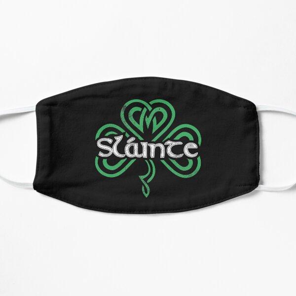 Slainte Gaelic Drinking Toast Cheers Good Health Funny St Patricks Day Saying Retro Shamrock Graphic Flat Mask