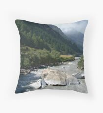 View Along River Marpha to Ghasa Throw Pillow