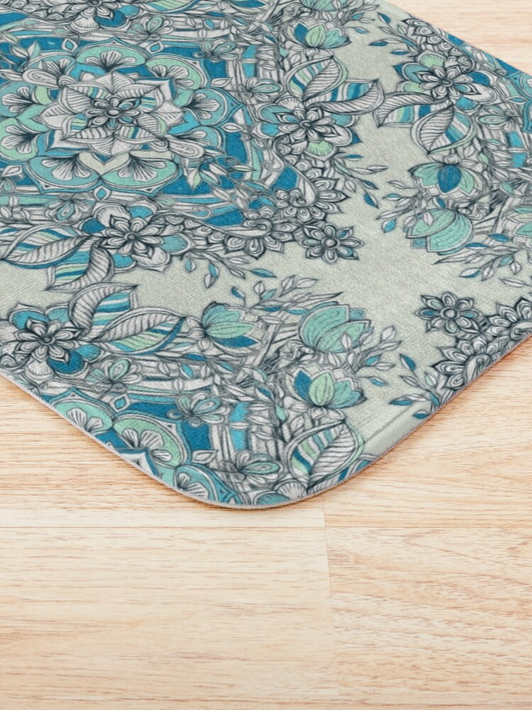 Alternate view of Floral Diamond Doodle in Teal and Turquoise Bath Mat