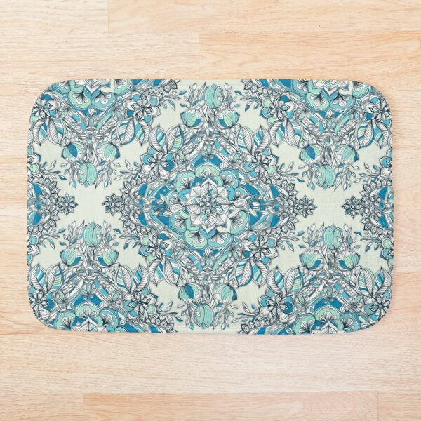 Floral Diamond Doodle in Teal and Turquoise Bath Mat