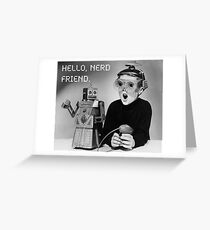 Friendly Robot and Nerd Greeting Card
