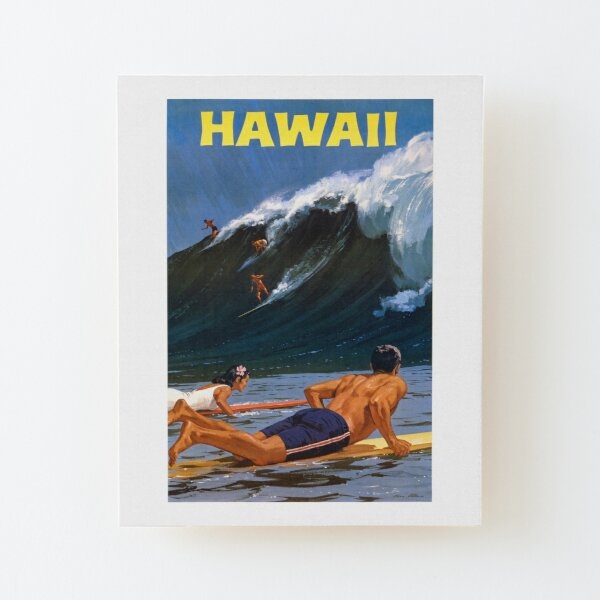Hawaii Vintage Travel Poster Restored Wood Mounted Print