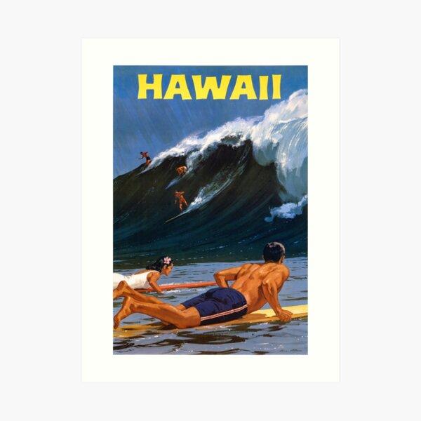 Hawaii Vintage Travel Poster Restored Art Print