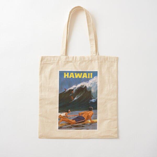 Hawaii Vintage Travel Poster Restored Cotton Tote Bag