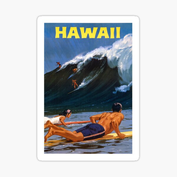 Hawaii Vintage Travel Poster Restored Sticker