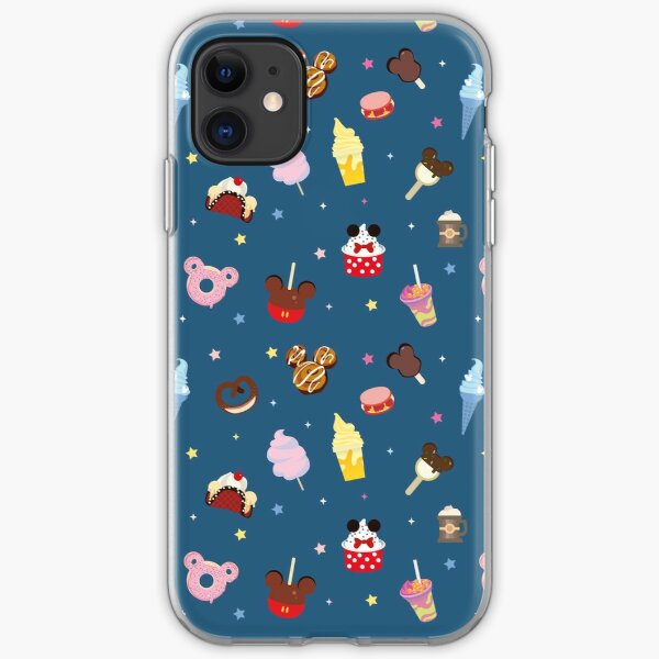 Magic Treat Blue Pattern with Food and Drinks from Theme Park iPhone Soft Case