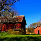 """ A Red Barn ,with Green Grass and Blue Sky "" by canonman99"