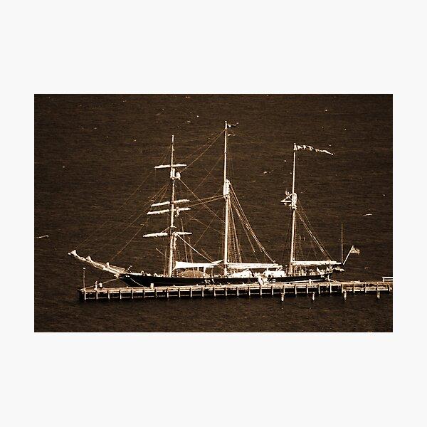 Leeuwin Sailing Ship Sepia Photographic Print