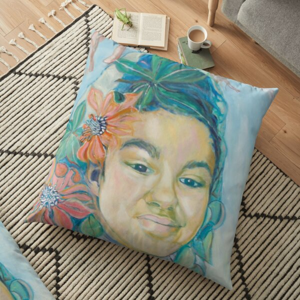 Woman with flowers Floor Pillow