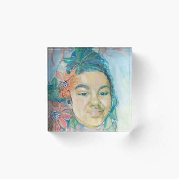 Woman with flowers Acrylic Block