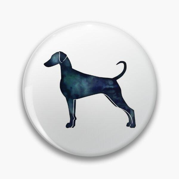 Doberman Pinscher Dog Breed Silhouette Black Indigo Blue Watercolor Pin