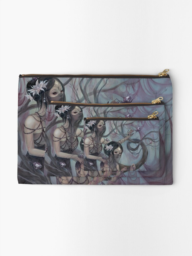 Alternate view of collecting silk from crystal spiders Zipper Pouch