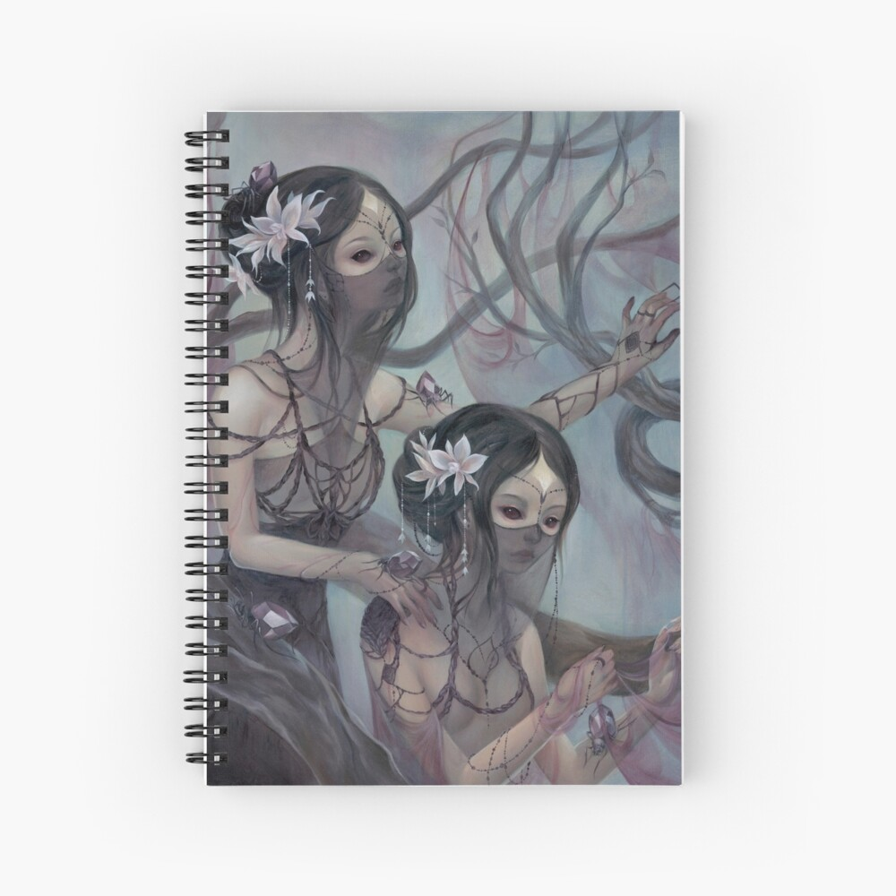 collecting silk from crystal spiders Spiral Notebook