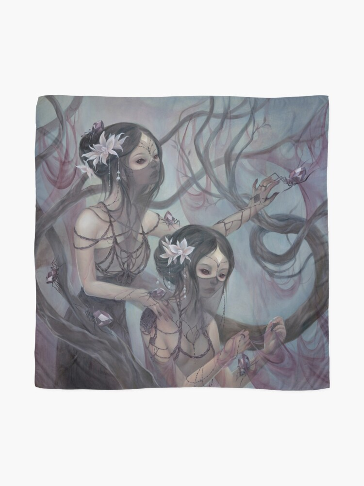 Alternate view of collecting silk from crystal spiders Scarf