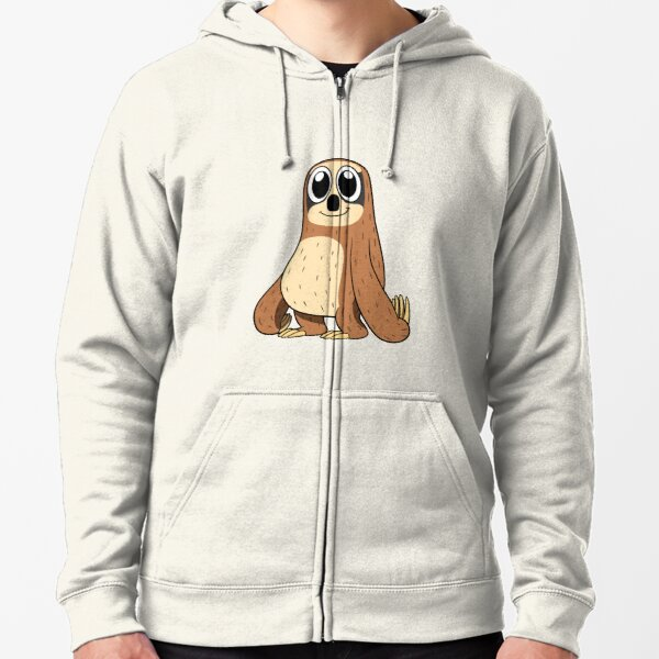 Happy Cartoon Sloth Zipped Hoodie