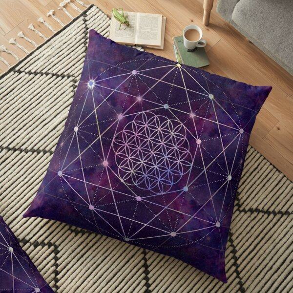 Flower of Life on Nebula - sky Floor Pillow