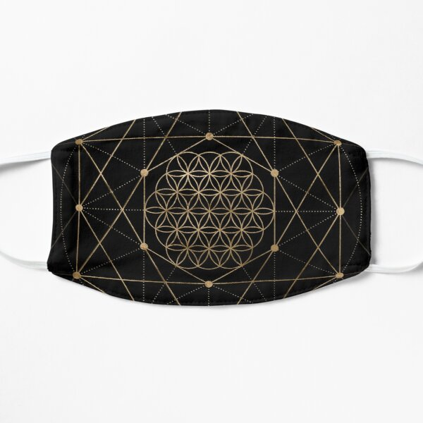 Flower of Life Black and Gold Flat Mask