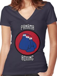 Panama Boxing Women's Fitted V-Neck T-Shirt