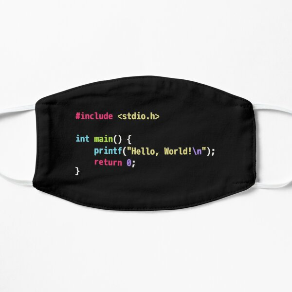 Hello World C Code - Dark Scheme Syntax Highlighting Mask
