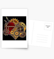 Steampunk Heart Postcards