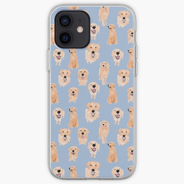 Golden Retrievers en azul Funda blanda para iPhone