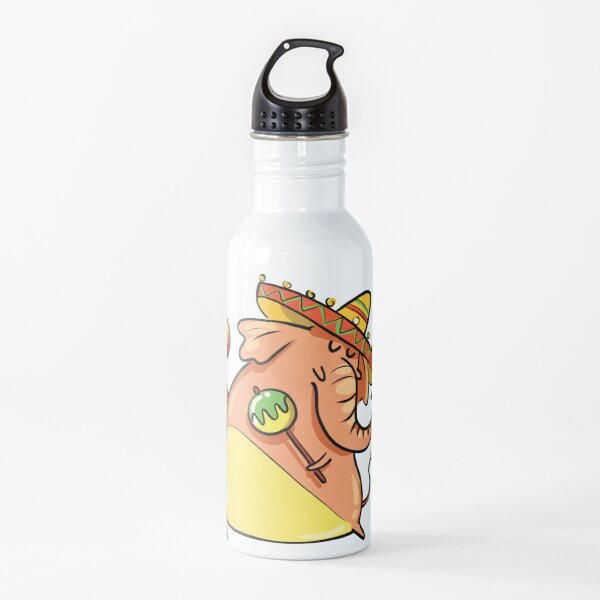 Funny Elephant With Mexican Sombrero and Maracas Water Bottle