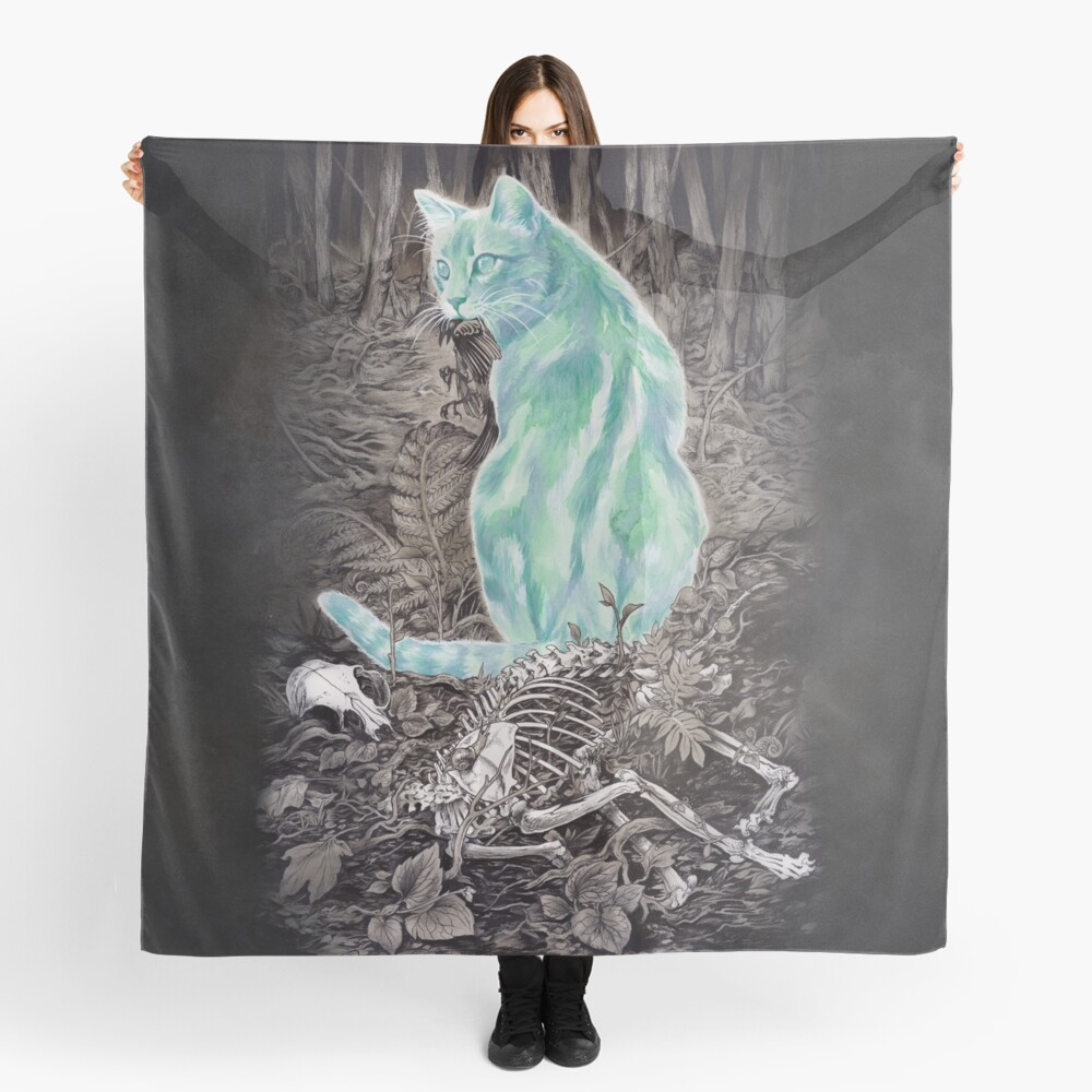 Ghost Cat Prowls Forever Scarf