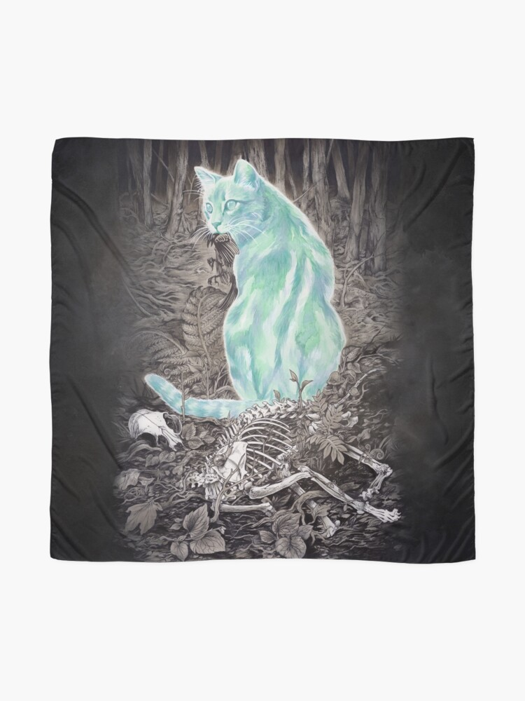 Alternate view of Ghost Cat Prowls Forever Scarf