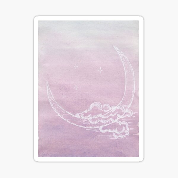 New Moon Rising in Lavender Skies Sticker
