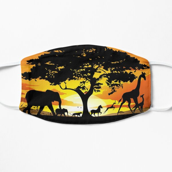 Wild Animals on African Savanna Sunset  Mask