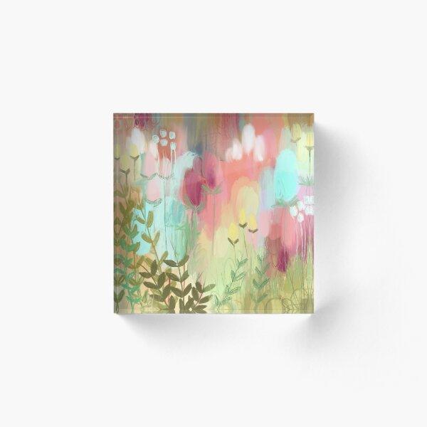 Peachy Meadow  Acrylic Block
