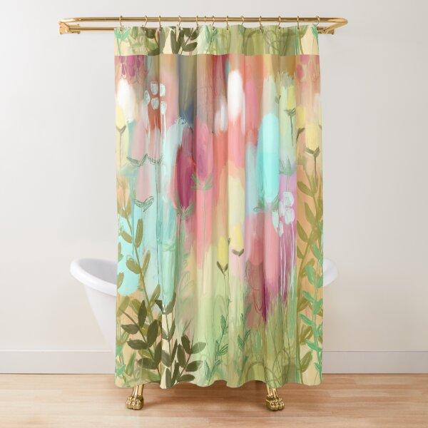 Peachy Meadow  Shower Curtain