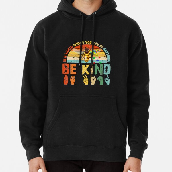 In A World Where You Can Be Anything Be Kind Autism Slp Pullover Hoodie