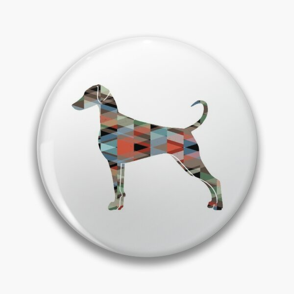 Doberman Pinscher Dog Breed Silhouette Geometric Pattern in Plaid Pin