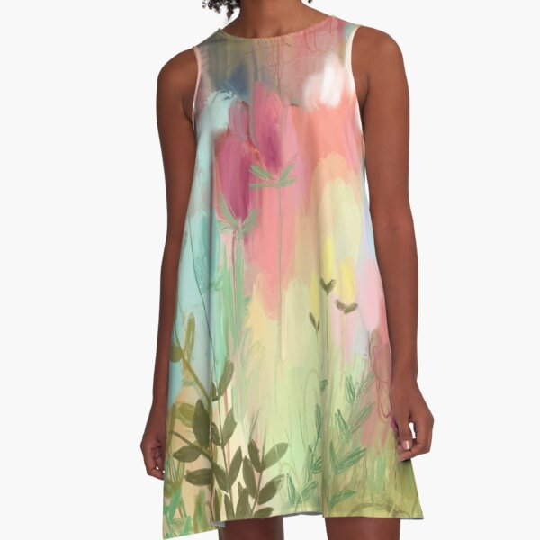 Peachy Meadow  A-Line Dress