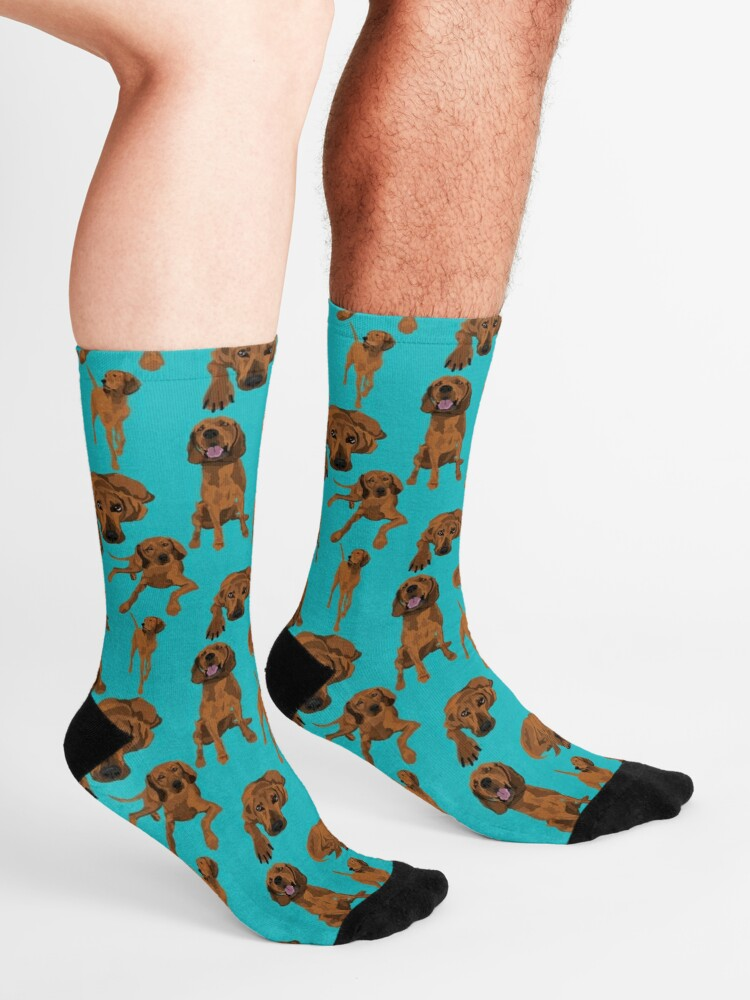 Alternate view of Redbone Coonhound on turquoise  Socks