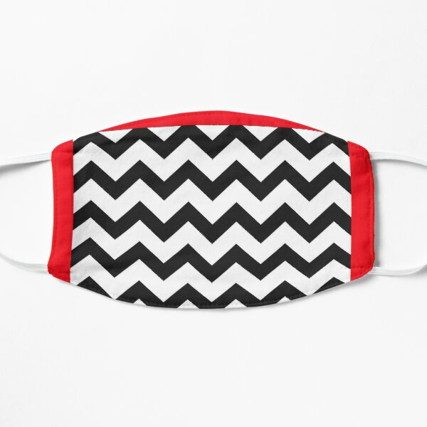 Black and White Chevron with Red Border Flat Mask