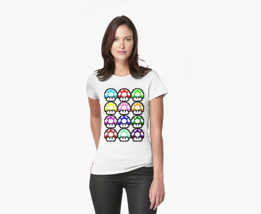 Multi-coloured Mushrooms by KillbotClothing