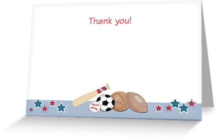 Sports Theme Thank you Card by JessDesigns