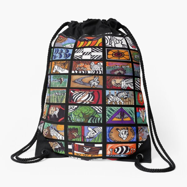 Zebra Collage Drawstring Bag