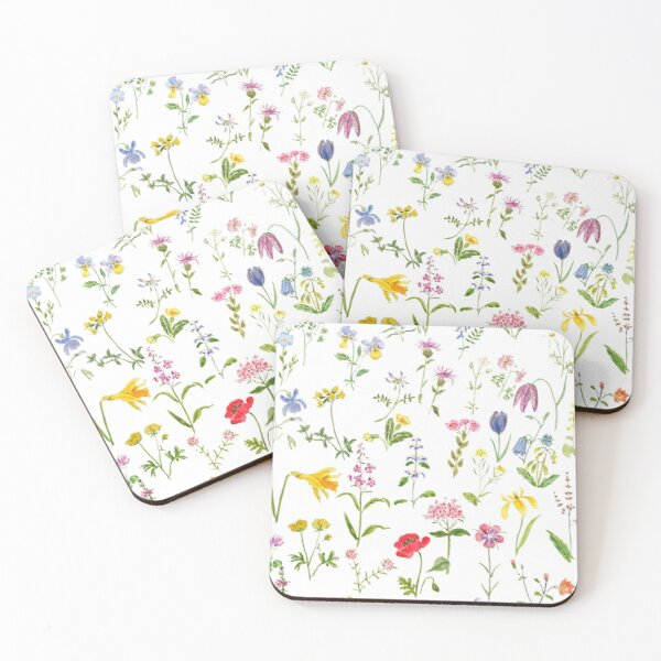 botanical colorful countryside wildflowers watercolor painting Coasters (Set of 4)