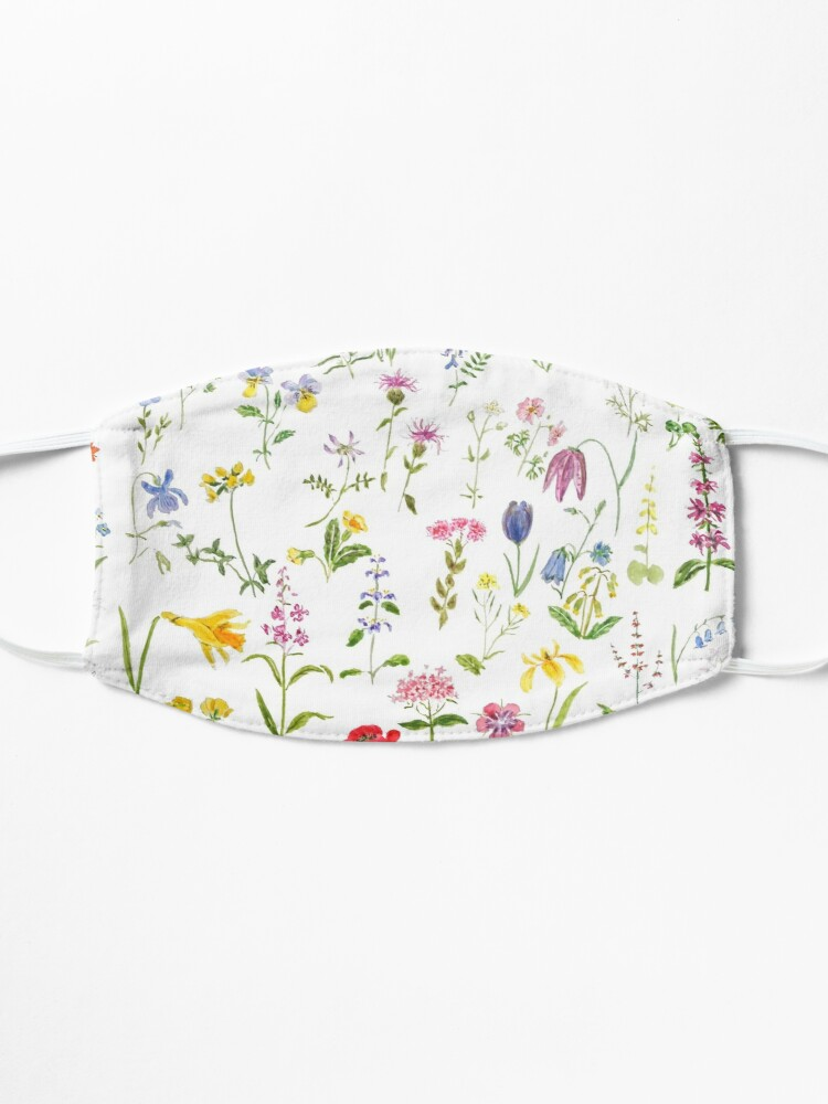 Alternate view of botanical colorful countryside wildflowers watercolor painting Mask