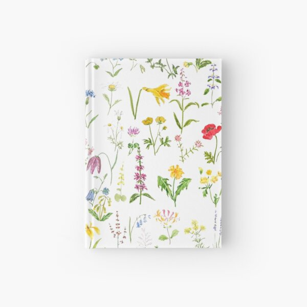 botanical colorful countryside wildflowers watercolor painting Hardcover Journal