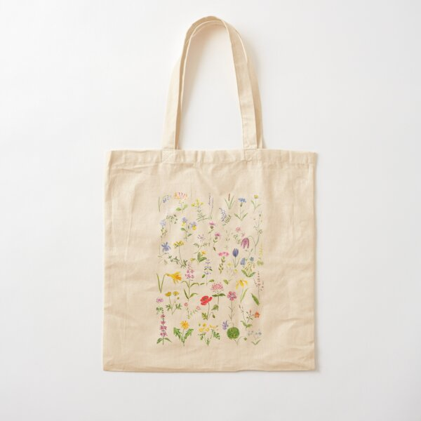 botanical colorful countryside wildflowers watercolor painting Cotton Tote Bag