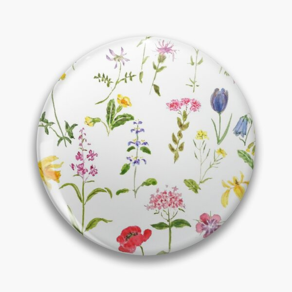 botanical colorful countryside wildflowers watercolor painting Pin