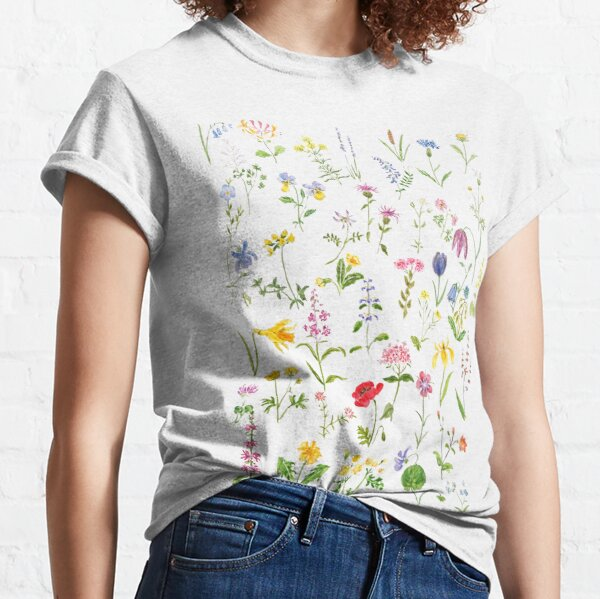 botanical colorful countryside wildflowers watercolor painting Classic T-Shirt