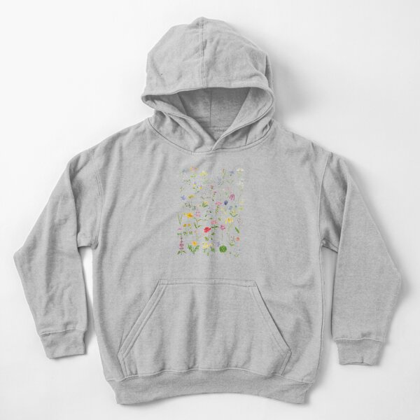botanical colorful countryside wildflowers watercolor painting Kids Pullover Hoodie