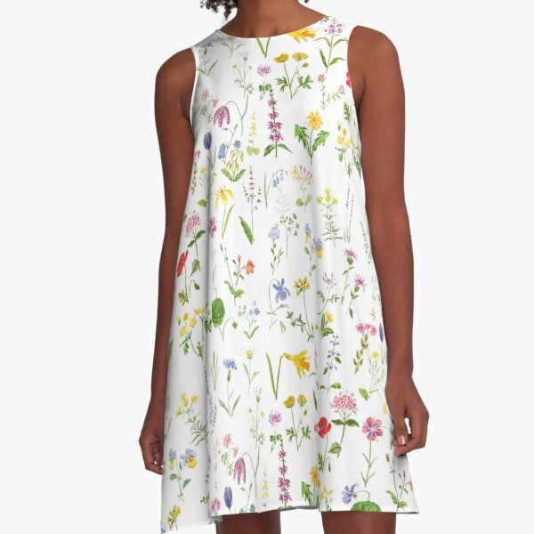 botanical colorful countryside wildflowers watercolor painting A-Line Dress