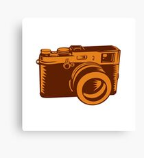 Camera 35mm Vintage Woodcut Canvas Print