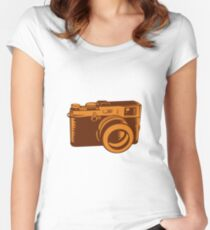 Camera 35mm Vintage Woodcut Women's Fitted Scoop T-Shirt